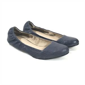 H by Halston Navy Blue Leather Ballet Flats 7.5 M